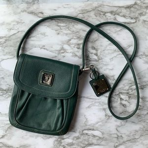 Tignanello green leather crossbody bag